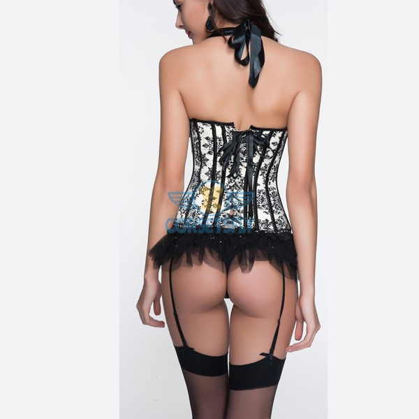 Cream Patterned Halter Strap Corset and Removable Garters Belts Panty CF6830_01