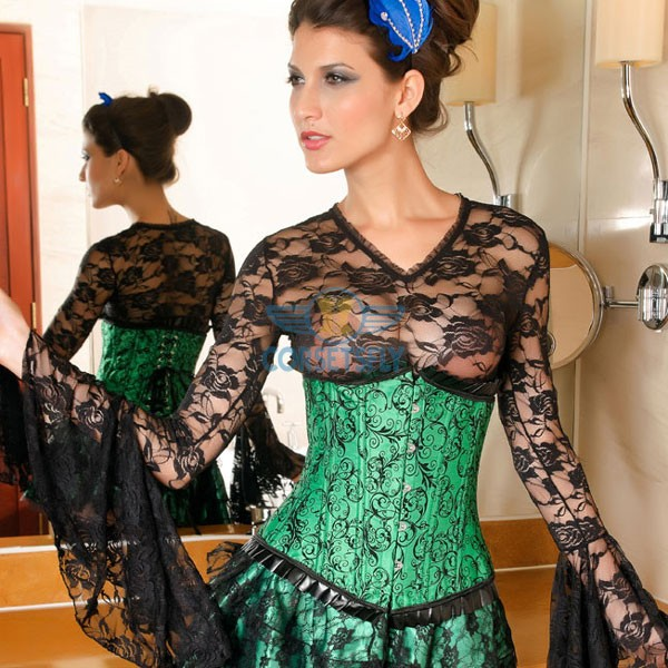 Darling Pleated Ruffle Trim Floral Pattern Green Under Bust Corset CF5504_01