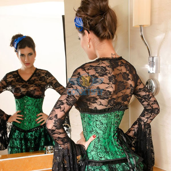 Darling Pleated Ruffle Trim Floral Pattern Green Under Bust Corset CF5504_03