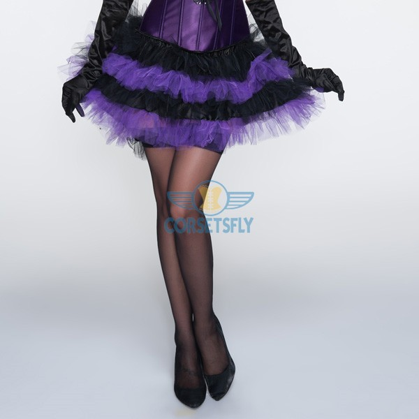 Double Layer Lace Trimmed Ballet Princess Purple Short Tutu Petticoat CF6509