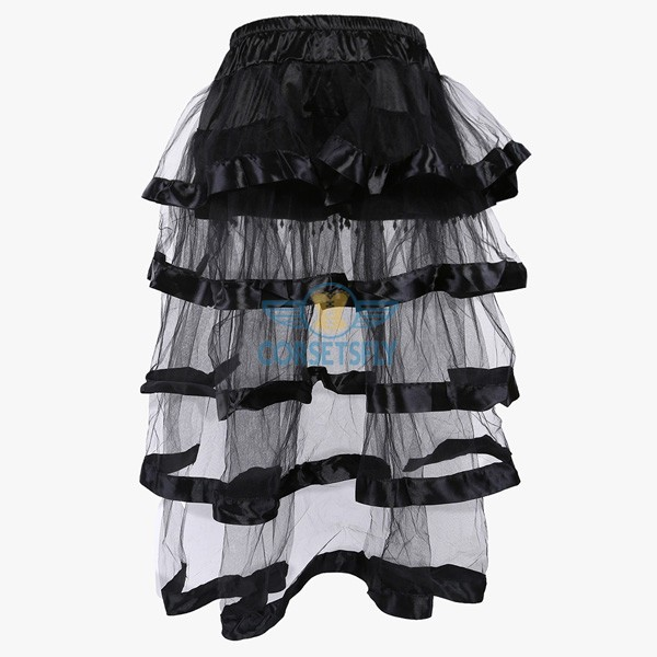 Elegance Organza Layered Tulle Tassels Long Tail Elasticated Waistband Skirt CF6510_02
