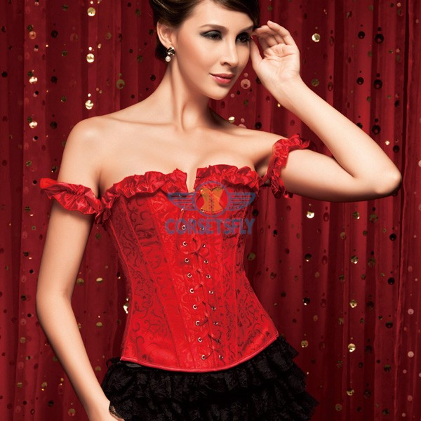 Elegant Ruffle Trim Criss Cross Front Jacquard Weave Corset with Pleated Sleeve CF5171 Red