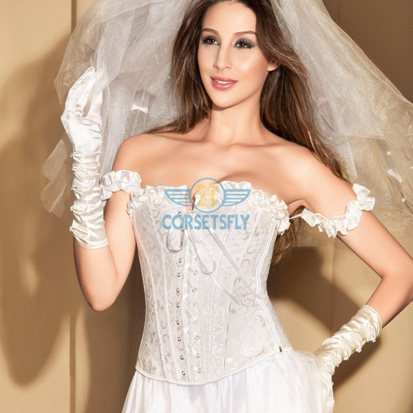 Elegant Ruffle Trim Criss Cross Front Jacquard Weave Corset with Pleated Sleeve CF5171 White