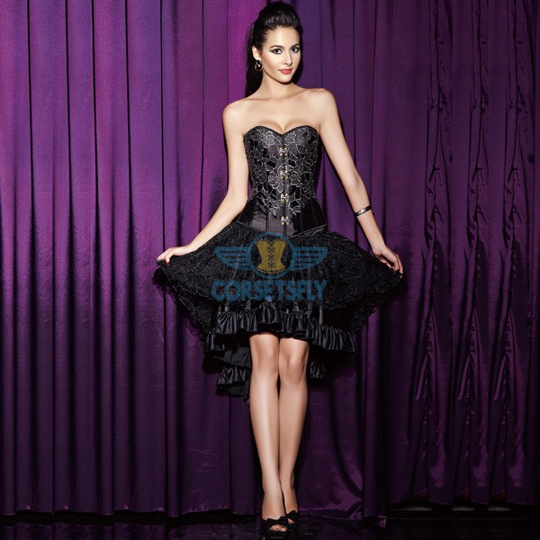 Embroidery Floral Steampunk Medieval Corset and Voluminous Layered Black Skirt CF6810