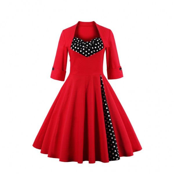 Fake Bowknot Sweetheart Neck Lapel Stretchy Vintage Rockabilly Swing Dress CF1442 Red_01