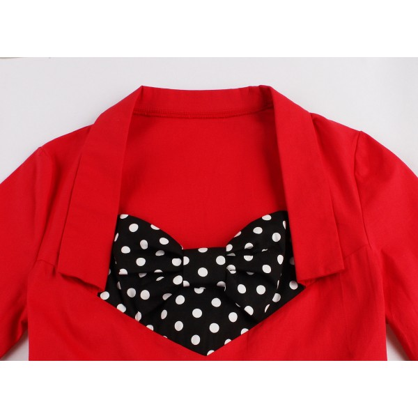 Fake Bowknot Sweetheart Neck Lapel Stretchy Vintage Rockabilly Swing Dress CF1442 Red_03