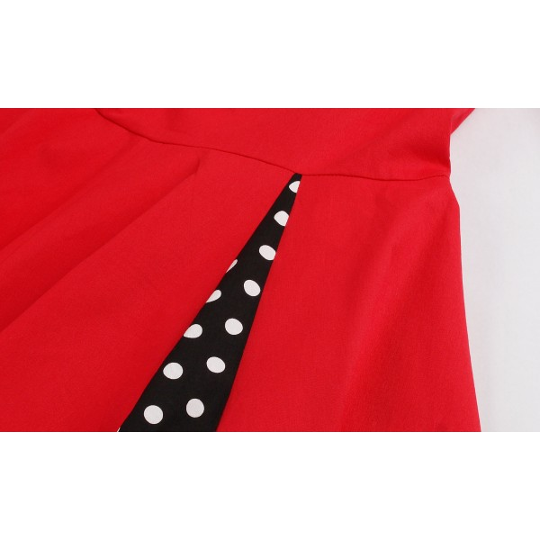 Fake Bowknot Sweetheart Neck Lapel Stretchy Vintage Rockabilly Swing Dress CF1442 Red_09