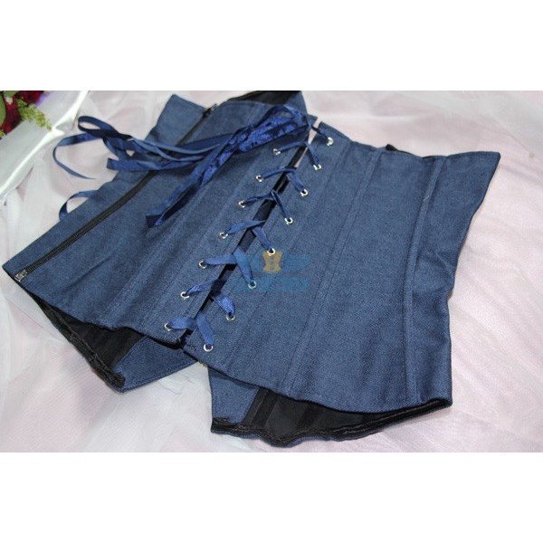 Fashion Blue Jeans Deep V Neck OL Plastic Botton Clousure Corset CF5134 Blue_02