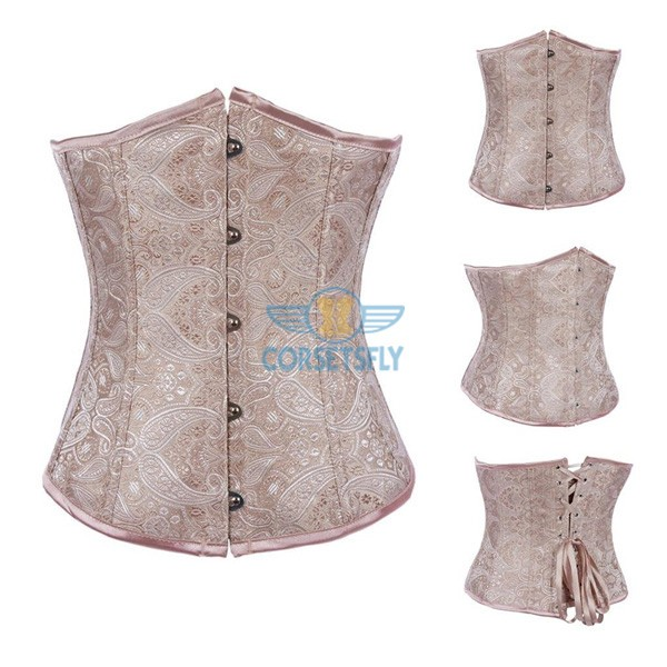Fashion Classic Vintage Wedding Strapless Plastic Boned Satin Underbust Corset CF7511 Beige_01