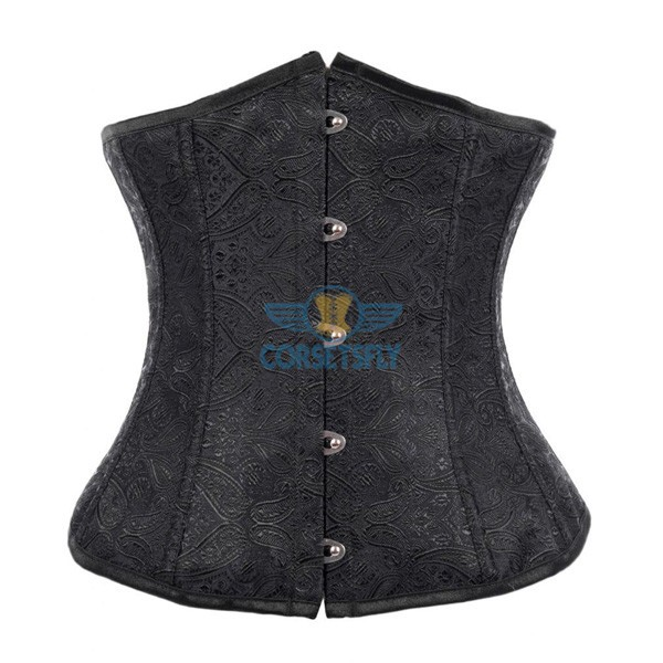 Fashion Classic Vintage Wedding Strapless Plastic Boned Satin Underbust Corset CF7511 Black