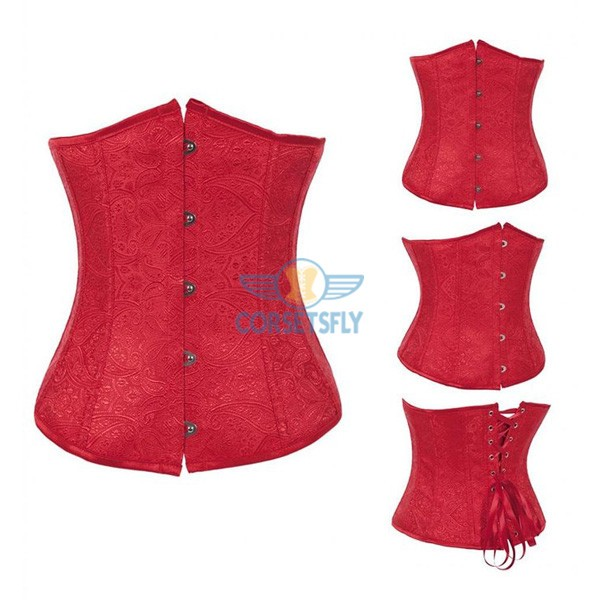 Fashion Classic Vintage Wedding Strapless Plastic Boned Satin Underbust Corset CF7511 Red_01
