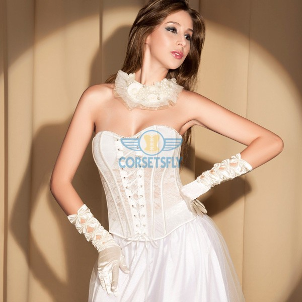 Fashion Sweetheart Criss Cross Zipper Closure Back Wedding Corset Top CF5100_01