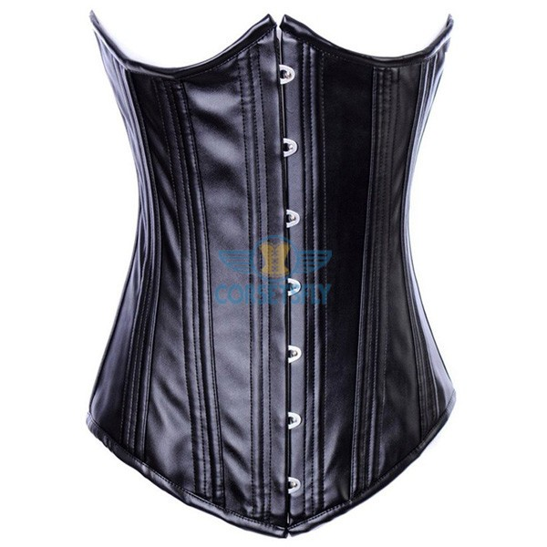 Faux Leather Heavy Duty Waist Training Steel Boned Underbust Corset CF7218