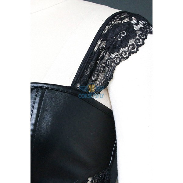 Faux Leather Shoulder Strap Zipper Back Corset with Lace Skirt CF7248 Black_04