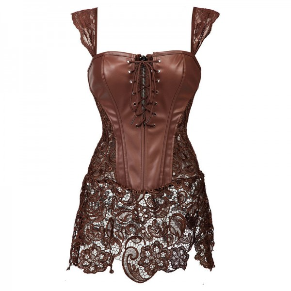 Faux Leather Shoulder Strap Zipper Back Corset with Lace Skirt CF7248 Brown_01