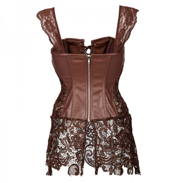 Faux Leather Shoulder Strap Zipper Back Corset with Lace Skirt CF7248 Brown_03