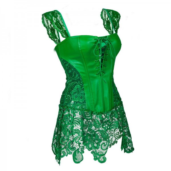 Faux Leather Shoulder Strap Zipper Back Corset with Lace Skirt CF7248 Green_02