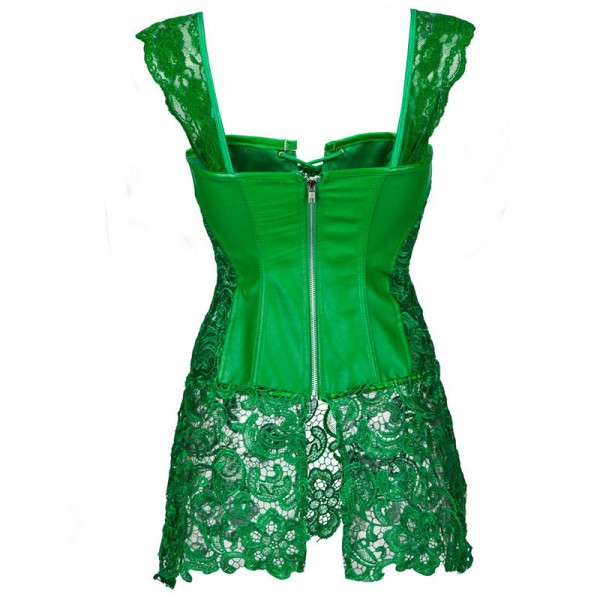 Faux Leather Shoulder Strap Zipper Back Corset with Lace Skirt CF7248 Green_03