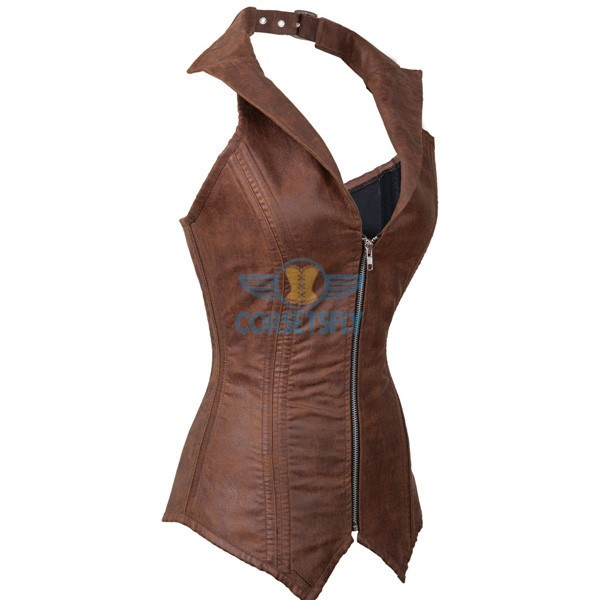 Faux Leather Steampunk Costume Rock Biker Steel Boned Zip Corset CF7237 Coffee_01