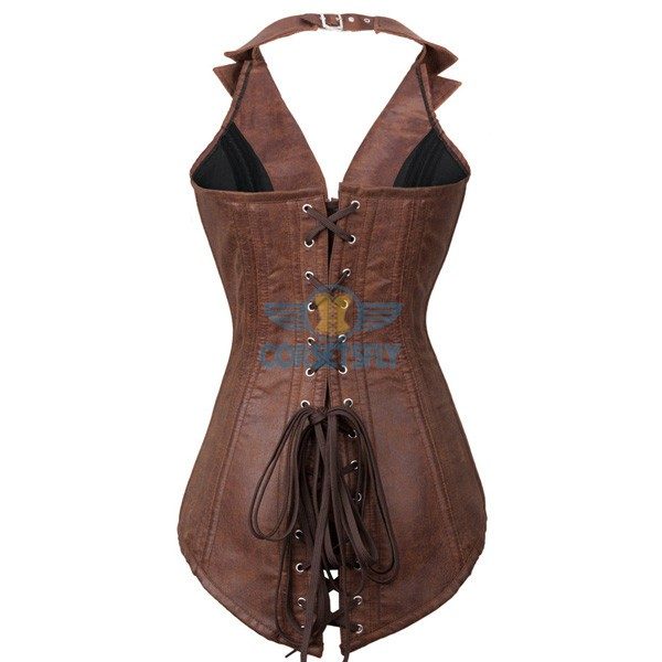 Faux Leather Steampunk Costume Rock Biker Steel Boned Zip Corset CF7237 Coffee_02