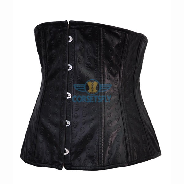 Faux Leather Underbust Black Skull Pattern Gothic Steel Boned Corset_1