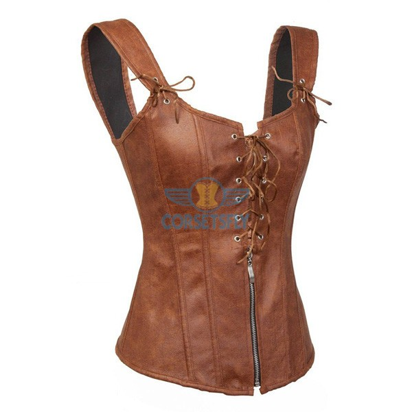 Faux Leather Zipper and Lace Up Front Sexy Garters Corset CF7230 Brown_01