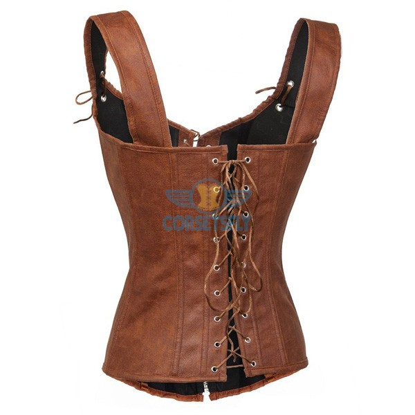 Faux Leather Zipper and Lace Up Front Sexy Garters Corset CF7230 Brown_02