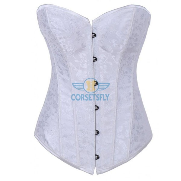 Floral Jacquard Weave Satin Strapless Wedding Sweetheart Overbust Corset CF7069 White