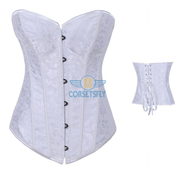 Floral Jacquard Weave Satin Strapless Wedding Sweetheart Overbust Corset CF7069 White_02