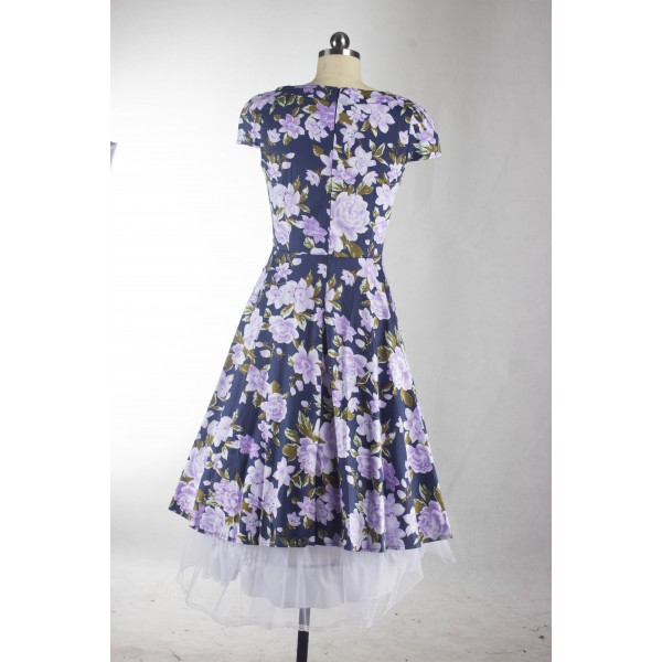Floral Print Rockabilly Vintage Cap-sleeve Evening Party Swing Dress CF1254 Blue_03