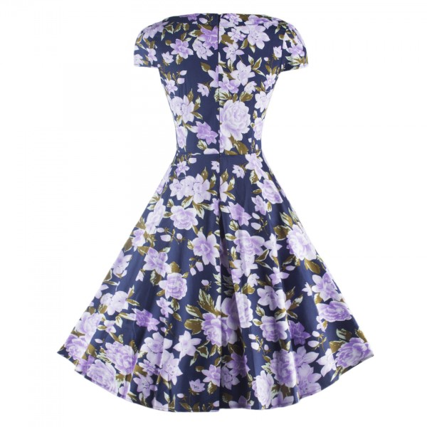 Floral Print Rockabilly Vintage Cap-sleeve Evening Party Swing Dress CF1254 Blue_05