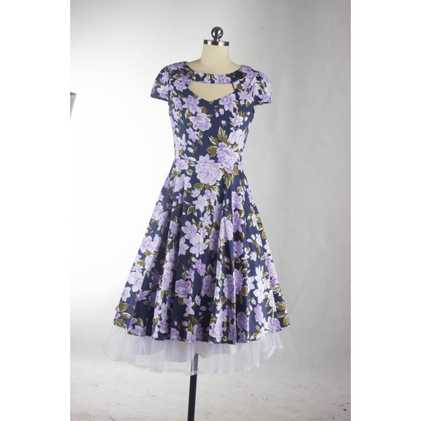 Floral Print Rockabilly Vintage Cap-sleeve Evening Party Swing Dress CF1254 Blue_10