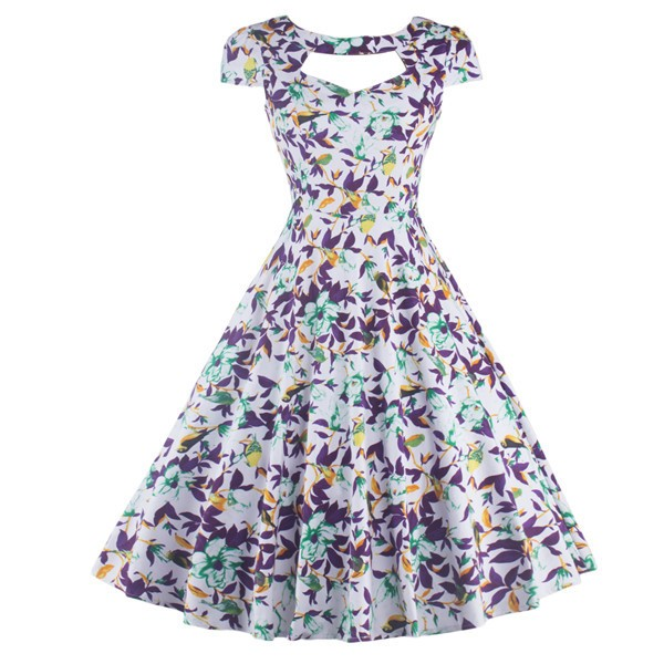 Floral Print Rockabilly Vintage Cap-sleeve Evening Party Swing Dress CF1254 White_01
