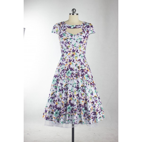 Floral Print Rockabilly Vintage Cap-sleeve Evening Party Swing Dress CF1254 White_03