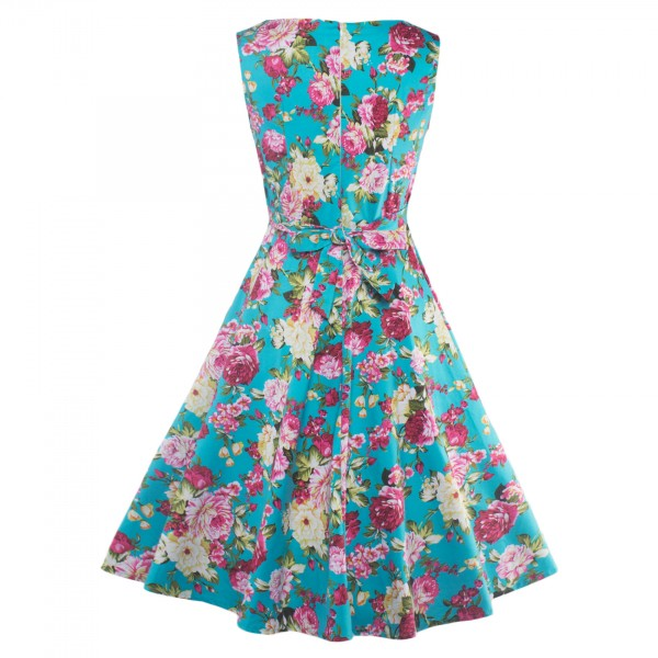 Floral Print Sleeveless Rockabilly Vintage Evening Party Classy Swing Dress CF1273 Blue_04