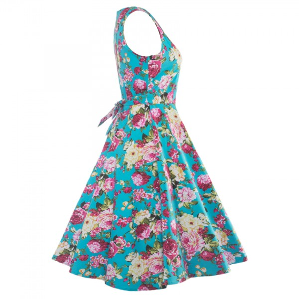Floral Print Sleeveless Rockabilly Vintage Evening Party Classy Swing Dress CF1273 Blue_11