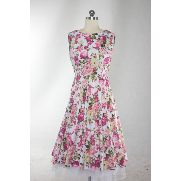 Floral Print Sleeveless Rockabilly Vintage Evening Party Classy Swing Dress CF1273 Pink_03