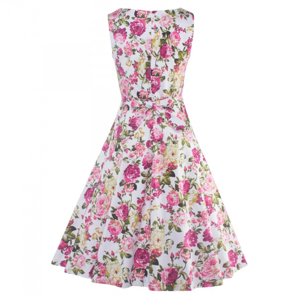 Floral Print Sleeveless Rockabilly Vintage Evening Party Classy Swing Dress CF1273 Pink_07
