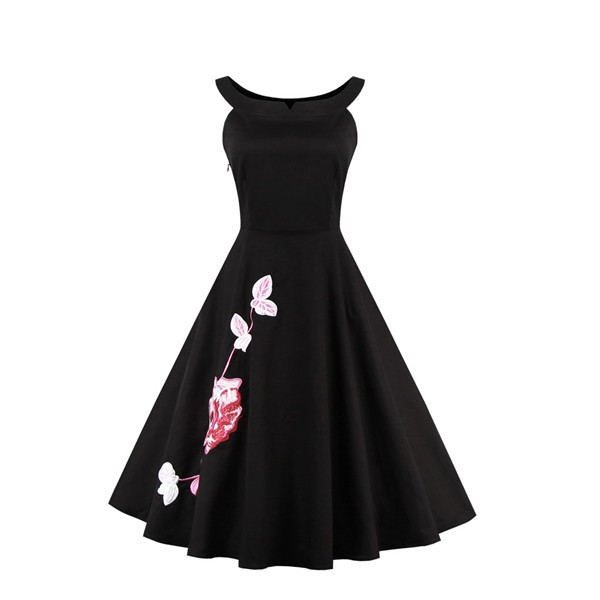 Floral Print Sleeveless Swing 1950's Vintage Spring Garden Party Dress CF1394_01
