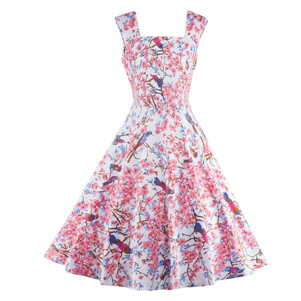 Floral Print Sleeveless Vintage Evening Party Classy Pink Swing Dress CF1268_01