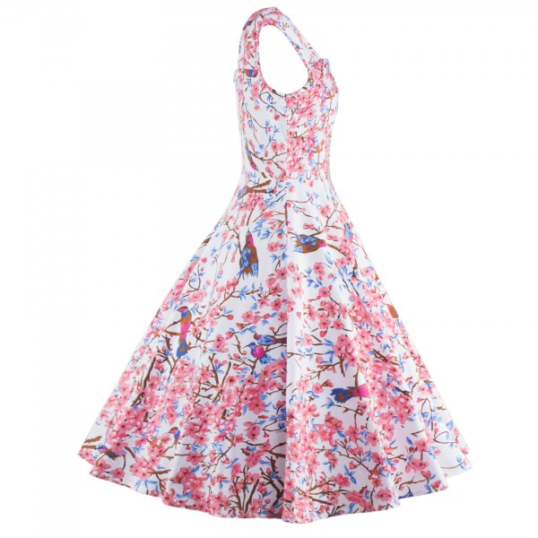 Floral Print Sleeveless Vintage Evening Party Classy Pink Swing Dress CF1268_02