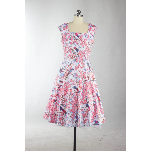 Floral Print Sleeveless Vintage Evening Party Classy Pink Swing Dress CF1268_07