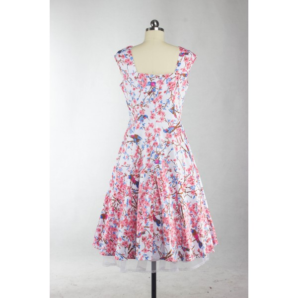 Floral Print Sleeveless Vintage Evening Party Classy Pink Swing Dress CF1268_05
