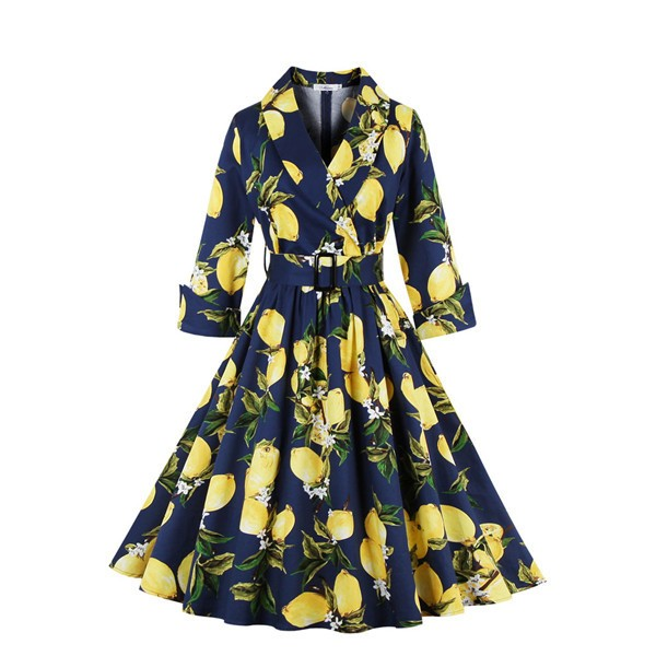 Floral Print Vintage 3/4 Sleeve Classy V Neck 1940's Rockabilly Dress CF1396 Blue_04
