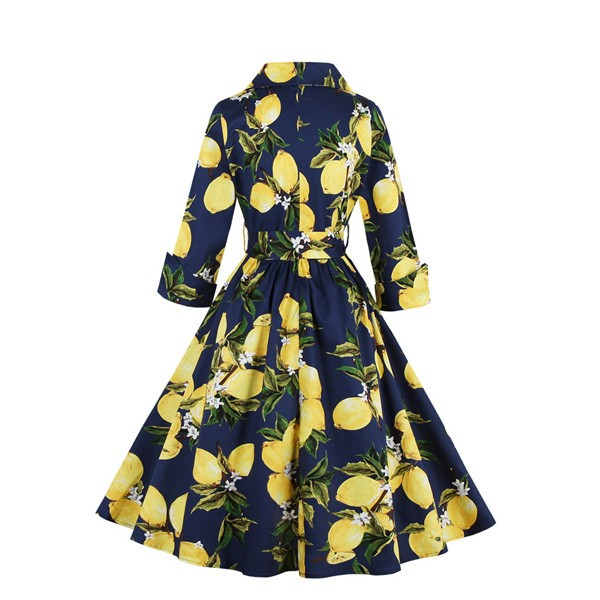 Floral Print Vintage 3/4 Sleeve Classy V Neck 1940's Rockabilly Dress CF1396 Blue_02