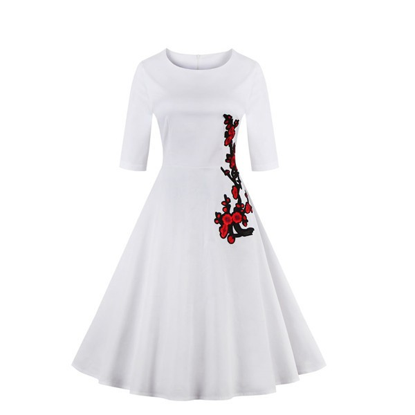 Swing Floral Print Vintage 3/4 Sleeve Spring Garden Party Dress CF1397 White_01