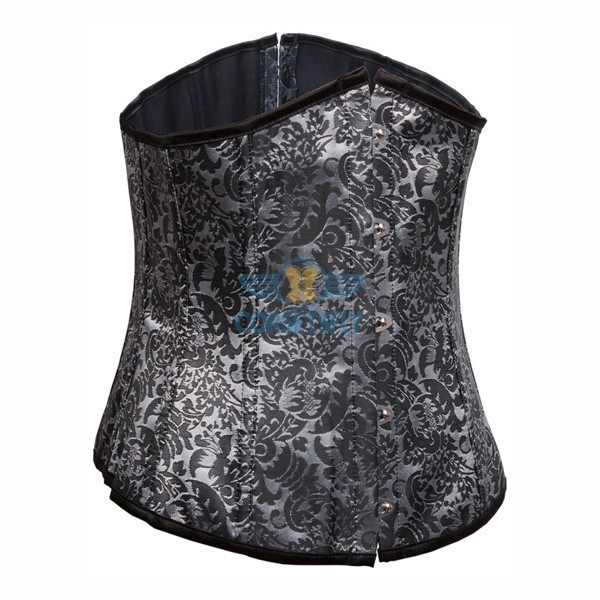 Flower Tapestry Front Busk Closure Lace Up Underbust Gray Corset CF7509_01