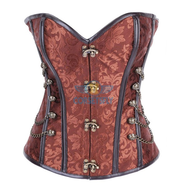 Fullbust Steel Boned Brocade Overbust Steampunk Victorian Corsets With Chains Brown