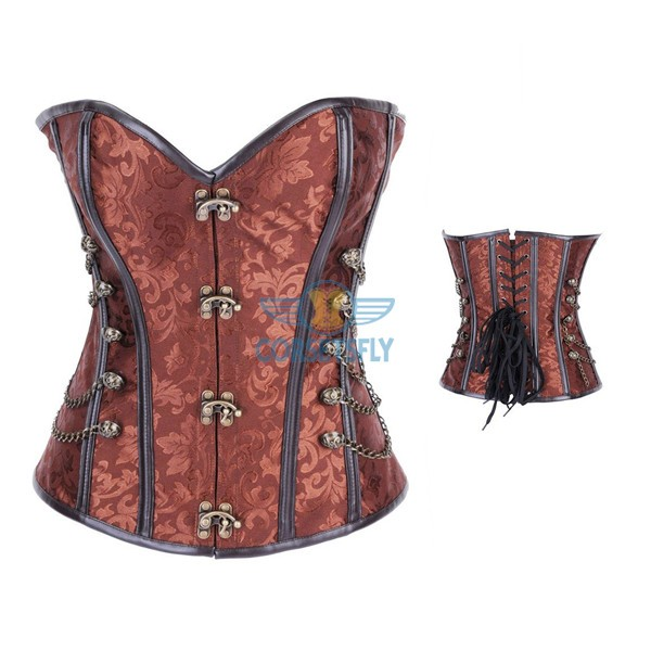 Fullbust Steel Boned Brocade Overbust Steampunk Victorian Corsets With Chains Brown_01