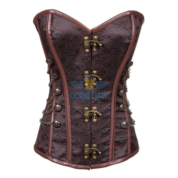 Fullbust Steel Boned Brocade Overbust Steampunk Victorian Corsets With Chains Coffe